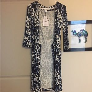 DVF blue leopard wrap dress